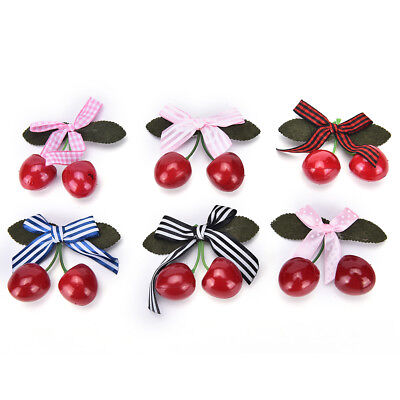 Vintage Cherry Bow Hair Clip For Pinup Girls Rockabilly Hair Accessory DR