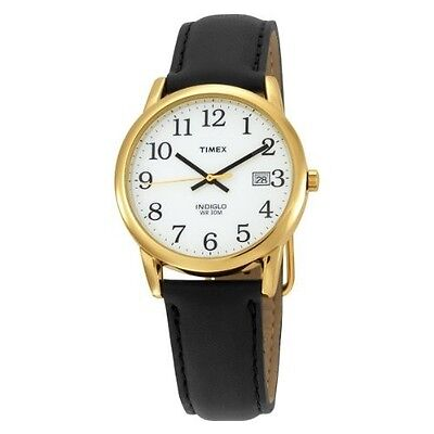 Mens Timex Easy Reader Indiglo Black Leather White Dial with Date Watch T2H291