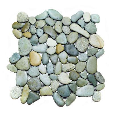 Glazed Green Earth Mix Pebble Stone Tile 12