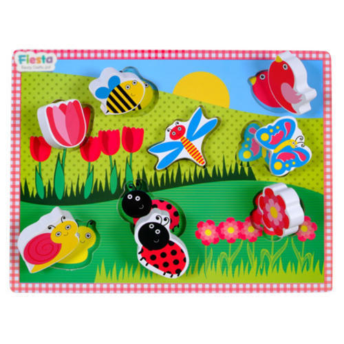 Childrens Chunky Wooden Flower Garden Puzzle 9 Pieces - Age 1+ by Fiesta Crafts