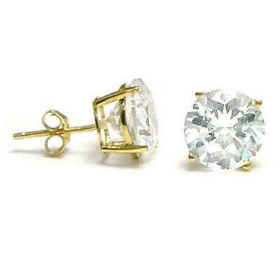 CZ Stud Earrings 14k solid yellow gold with 14k gold butterfly back  Size 3-8 MM 14k Yellow Gold Butterfly Earrings