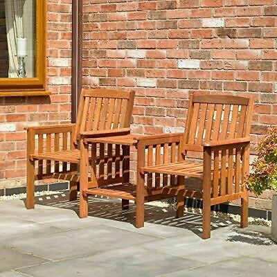 Garden Furniture - Garden Furniture Set Love Seat Wooden Bench 2 Seater Patio Twin Chair With Table