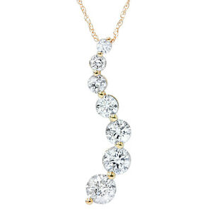 1-2CT-Diamond-14K-Yellow-Gold-Journey-Pendant-High-Quality-Womens-Necklace-Chain