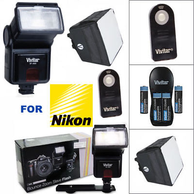 PRO FLASH + BOX DIFFUSER + REMOTE + CHARGER BATTERIES FOR NIKON D3400 D5600