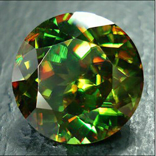 2.27cts Hi End Natural Fire Sparkling 8.4mm Round Green Sphene Loose Gemstone