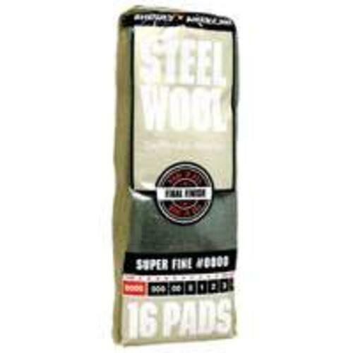Homax 106600-06 Super Fine #0000 Steel Wool Pad, Pack-16