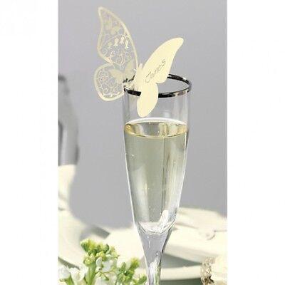 10x Tischkärtchen f. Gläser Schmetterling creme Platzkarten Tischkarten Hochzeit