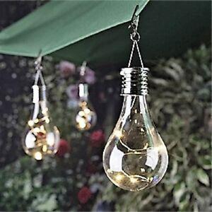 2 X Solar Powered Hanging Light Bulbs Solar Garden Lights