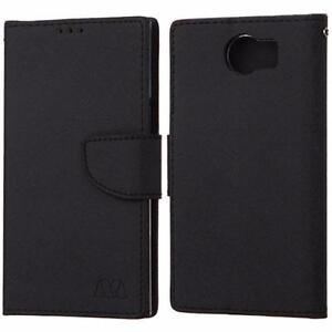 BlackBerry PRIV Premium Executive Faux Leather Canvas Book Style Card Slot Folding Flip Folio Wallet Cover Stand Case
