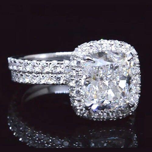New! 3.40 Ct Cushion Cut Diamond Eternity Engagement Ring Set G,VVS1 GIA 14K WG