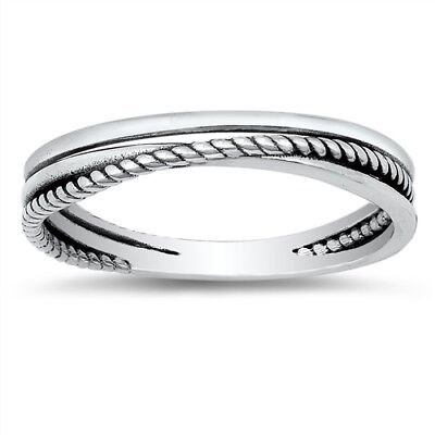 - Criss Cross Knot Rope Design Stacking Ring 925 Sterling Silver Band Sizes 4-10