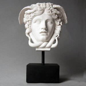 Greek Medusa Bust Head Sculpture on Base 10.5