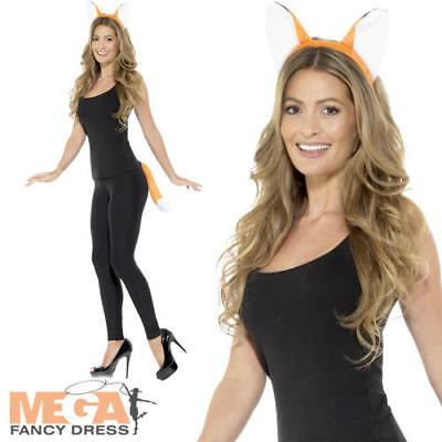 Adult Fox Kit Ladies Fancy Dress Ears Tail Animal Farm Womens Costume - Fox Tails Kostüm