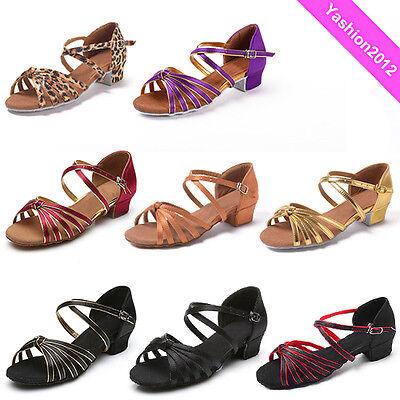 Brand New Women Children Girl's Ballroom Latin Tango Dance Shoes heeled Salsa203