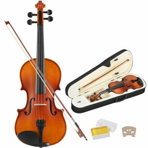 4/4 Geige Violine Set Geigenset Anfänger Kolophonium mit Bogen Kinnstütze Koffer