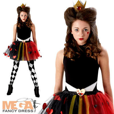 Tween Queen Of Hearts Girls Costume Wonderland Teens Accessory Set Fancy Dress