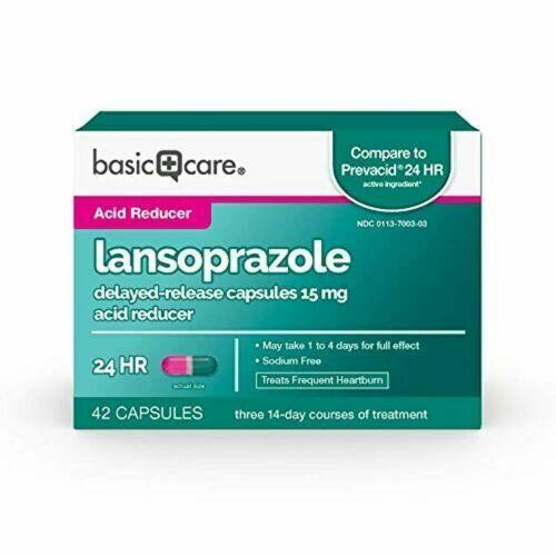 Basic Care Lansoprazole 15mg Delayed-Release Acid Reducer 42 Capsules EXP12/2020