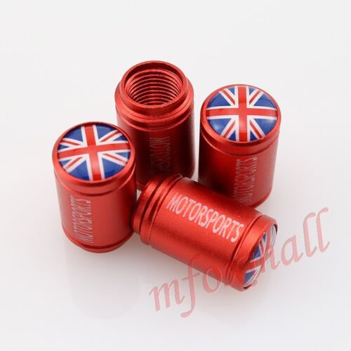 Car Accessory Trim Wheel Rim Screw Cover Red Tyre Tire Valve Cap UK England Logo