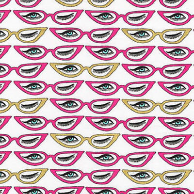 RK Fashion Statement Eyeglasses and winking 100% cotton fabric by the yard white](Yard Glasses)