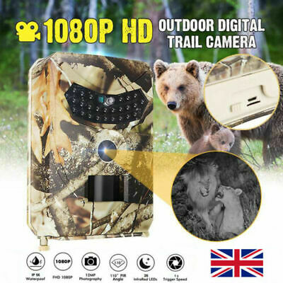 12MP Hunting Trail Camera 1080P HD Wildlife Monitoring IP56 120° PIR Outdoor UK