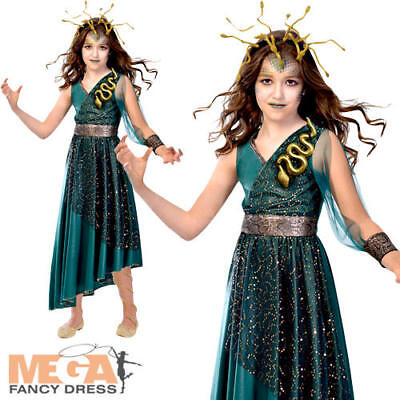 Medusa Girls Fancy Dress Halloween Ancient Greek Myth Monster Kid Childs Costume