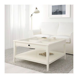 IKEA Coffee table, white, glass top, Drawer