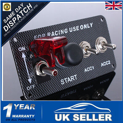 12v Car Ignition Engine Push Start Button Carbon Panel Racing 2 Toggle Switch
