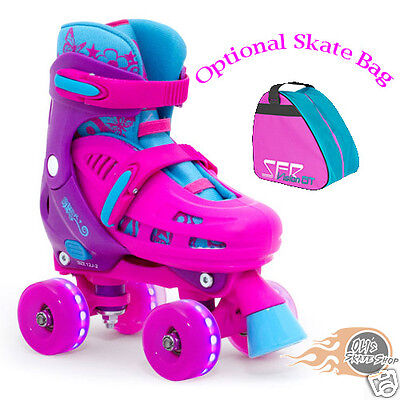 Flashing Roller Skates (SFR Lightning Hurricane Adjustable Quad  Roller Skates  Light up flashing)