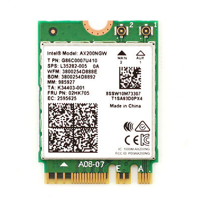Intel WiFi 6 AX200 802.11ax MU-MIMO 80MHz+80MHz/160MHz Network Bluetooth 5 Card