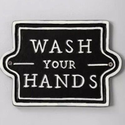 Hearth & Hand Magnolia HGTV Wash Your Hands Wall Sign Plaque Black SOLD OUT NWT