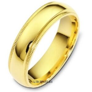 14K-YELLOW-GOLD-MENS-WEDDING-BAND-RING-MILGRAIN-6MM