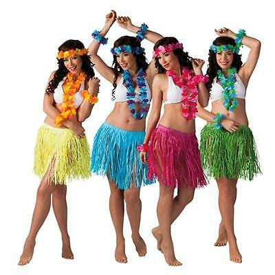 Hawaii Set KALIA 5-teilig Kostümset Party Kostüm Südsee Bastrock Lei (Rock Kostüm Set)