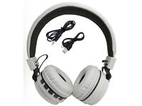 Foldable Wireless Bluetooth Handsfree Headphones + Mic For iPhone iPad Android white colour