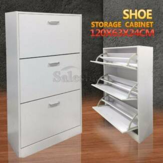 1.2M Shoe Wooden Storage Organization Cabinet Chest 3 Level Rack