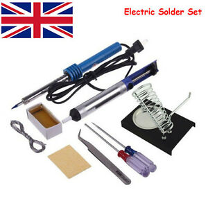 9 in 1 60W Electric Solder Starter Tool Kit Set with Iron Stand Desolder Pump