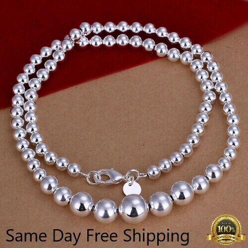 Jewellery - Womens 925 Sterling Silver Hollow Balls Beads Chain Necklace #N169