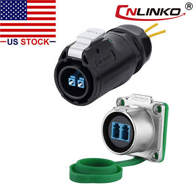 Cnlinko Fiber Optic Connector Plug Socket Ip67 W10ft Cable Single Mode Lc