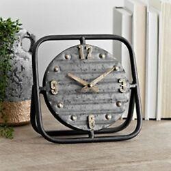 Vintage Metal Tabletop Clock Farmhouse Style Grey Frame Galvanized Decor New