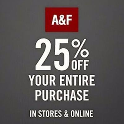 25% off $75+ Abercrombie & Fitch Promo-Coupon Code Ex 5/2/19 Online/In Store