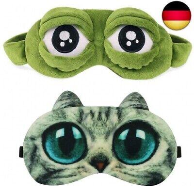 Schlafmaske Augenmaske Schlafbrille Frauen Kinder Herren Damen Frosch Katze