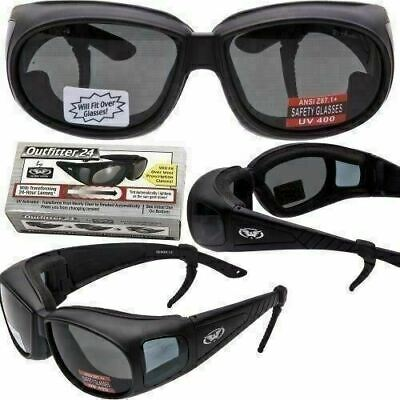 TRANSITIONAL PHOTOCHROMIC LENS Motorcycle Sunglasses FIT OVER RX GLASSES (Motorcycle Sunglasses Transition Lens)