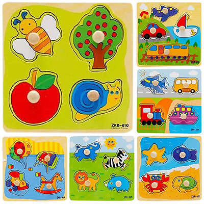 Baby Toddler Intelligence Development Cartoon Wooden Brick Puzzle Learning Toy](Toddler Toy)
