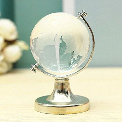 50mm Mini World Globe Crystal Glass Clear Paperweight Desk Office Home Decor