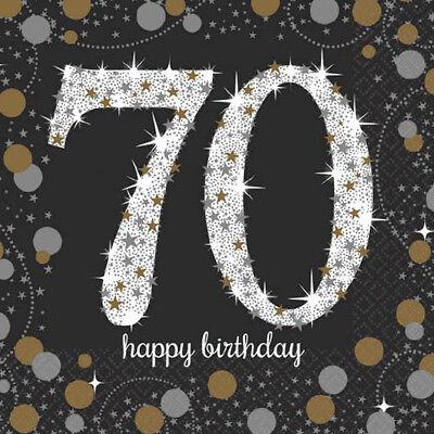 SPARKLING CELEBRATION 70th BIRTHDAY SMALL NAPKINS (16) ~ Party Supplies Cake OTH