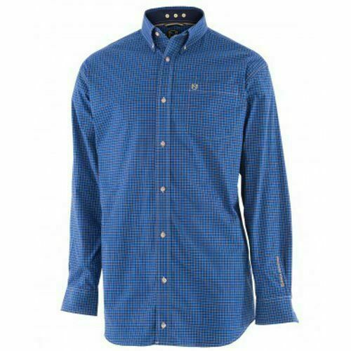 Noble Outfitters Mens Generations Long Sleeve Shirt Royal Blue Plaid Small
