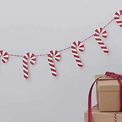 2 METERS SHINY CANDY CANE BUNTING CHRISTMAS PARTY DECORATION BANNER GARLAND