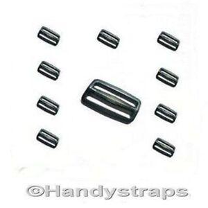25-Black-Plastic-3-Bar-Slides-Buckles-for-25mm-Webbing