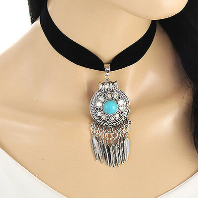 New Fashion Silver Chain Turquoise Collar Choker Statement Pendant Bib Necklace