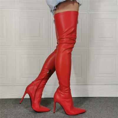 Details about  /Womens Pointy Toe Stilettos High Heel Knee High Boots Leopard Gladiator 45//46//47