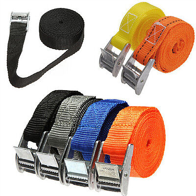 2pcs Pack Cam Tie Down Strap CARGO Lash Luggage Nylon Bag Belt Metal Buckle